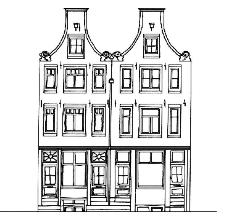 Tekening gevel Korte Leidsedwarsstraat 70