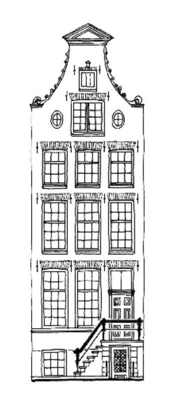 Tekening gevel pand Nieuwe Herengracht 45