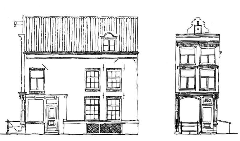 Tekening pand Oude Spiegelstraat Singel 350