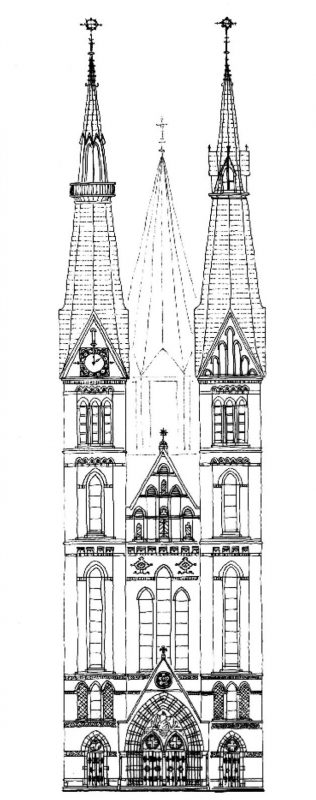 Tekening gevel pand Posthoornkerk Amsterdam