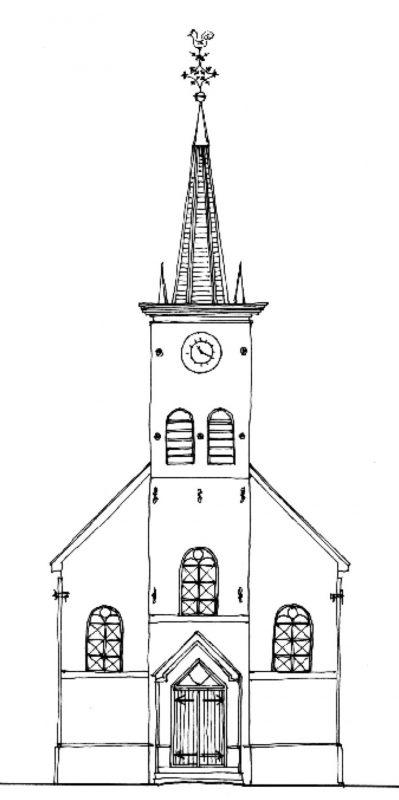 Tekening gevel pand Wijkergouw 6 Schellingwouderkerk