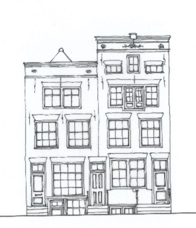 Tekening gevel pand Wittenburgergracht 197-209