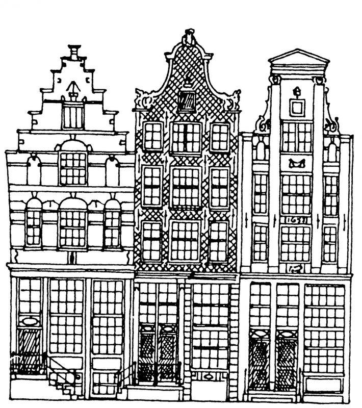 Tekening gevels panden korte-prinsengracht-5-9