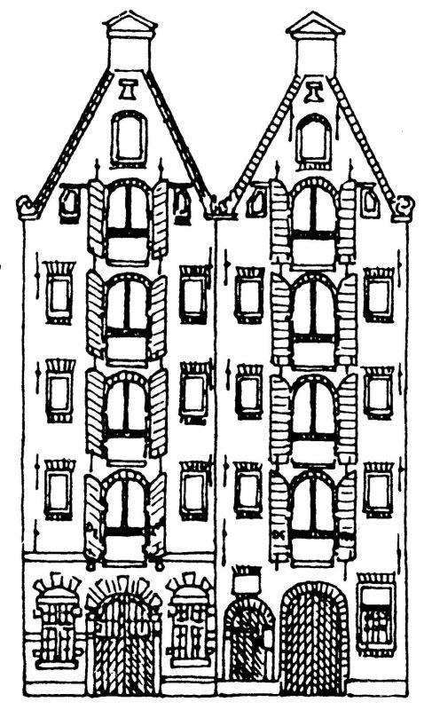 Tekening gevels panden reguliersgracht-11-13