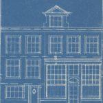 Tekeningen voor en na de verbouwing van 1935 waarbij de pothuizen verdwenen