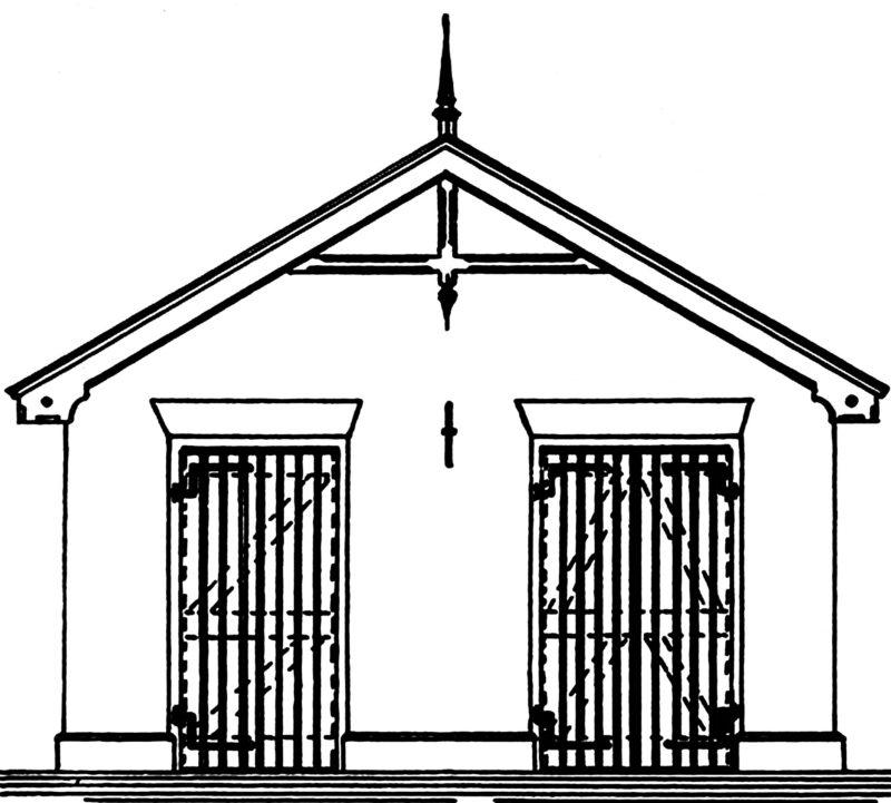 Tekeing gevel pand Dronkemanskot Lijkenhuisje Schellingwouderkerk