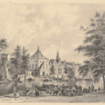 Bedrijvigheid aan het Spaarne ten Westen van nummerr. 11 met goederen op de kade bij een trekschuit en aan de overzijde de Waag, ca 1850, Prenten en tekeningen van de Provinciale Atlas Noord-Holland