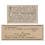V.b.n.b. Keukenmeid - Van Vloten - Het nieuws van den dag kleine Courant - 07-12-1883 / Van Linden van den Heuvell Ondertrouw Opregte Haarlemsche Courant - 17-04-1885.