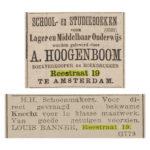 Advertenties van Hoogeboom in de krant. Boven: Nieuws van de dag (1878) en onder De Courant (1915).
