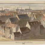 Vogelvluchtgezicht van het Bethaniën klooster met voor de blinde muren aan de Barndesteeg, situatie 1544.