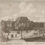 Prent van de Amstelkerk met links Reguliersgracht 67. Bron: H.P. Schouten, (Herman; 1747-1822), Fouquet, Pierre (1729-1800).