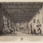 Een ets-tekening van een scene uit de opera de Kuiper, in de schouwburg op de Keizersgracht.