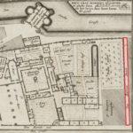 Prent 18e eeuw naar opmetingen Joost Jansz in 1578. Rood de Barndesteeg.