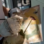 Kleurenpallet voor restauratie van de gevelsteen. Foto: Aart Fotografie.