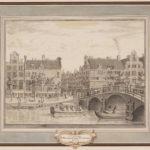 Op het kavel aan de Keizersgracht werden huizen aan de Herenstraat gebouwd. Tekening: P. van der Kloet (1773).