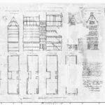 Ontwerptekening met aanzichten, plattegronden en doorsneden voor het verenigen van voor- en achterhuis (1864).