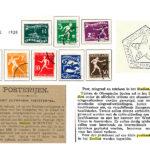 Speciale Olympiade zegels postzegels ter gelegenheid van de Olympische Spelen (1928). Rechts de speciale Olympiade poststempel.
