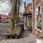 Straatbeeld Rode Dorp met bloempotten en containers Zaandijk.