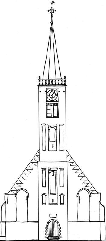 Tekening gevel pand kerk Schermerhorn