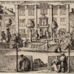 Een gedeelte van het eerste huis op dit erf is rechts te zien, afbeelding van Romeyn de Hooghe