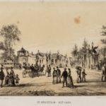 Links Hortus Botanicus, rechts het Park, tekening Stadsarchief Amsterdam