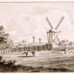 De Kleine Lijnbaan met de Kleine Stinkmolen/ De Star aan de schans, thans Marnixstraat, op het bolwerk Osdorp. Anno 1750.