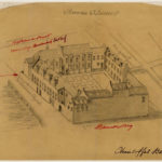 Een reconstructietekening van het Bethaniënklooster aan de Oudezijds Achterburgwal 93-119 zoals de situatie was in 1544.