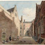 Dwarsspinhuissteeg met links het spinhuis en rechts ons pand, 1799 Reinier Vinkeles, Stadsarchief Amsterdam