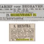 Krantenartikelen over de Herenmarkt 21. V.b.n.o.: Zelfs 5e klasse begraven is mogelijk / 1889.