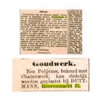 Krantenartikelen over de Herenmarkt 21. V.b.n.o.: 1901, 1902.