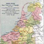 Kaart met boven de lijn de noordelijke Nederlanden en onder de zuidelijke Nederlanden.
