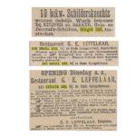 Singel 346 in de kranten. V.b.n.b. Nieuws van den dag 12-4-1883 / Nieuws van den Dag 1896 / Nieuws van den Dag 5-9-1898.