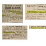 Krantenknipsels Egelantiersgracht 46. V.l.n.r. Alg. Handelsblad 01-02-1926 / Alg. Handelsblad 27-01-1931 / De Telegraaf 29-06-1932 / Alg. Handelsblad 30-11-1925 / De Waarheid 04-06-1946.
