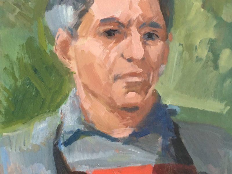 Frank Tromp de Haas-Zelfportret, ca. 1983, acrylverf, 45x35cm