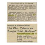 Van boven naar beneden: Alg. Handelsblad 3-5-1933 / Friesch Dagblad 7-4-1936.