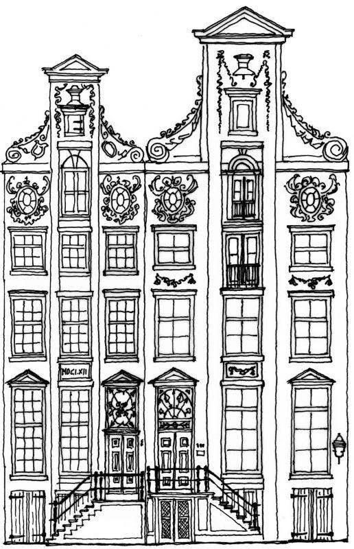 Tekening gevel panden Herengracht 368-366 Cromhouthuizen