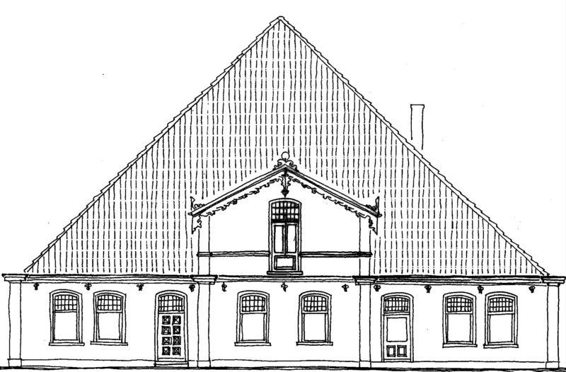 Tekening gevel pand Hoofdweg 1327 Margaretha's Hoeve