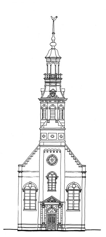Tekening gevel pand Linnaeustraat 37 Muiderkerktoren