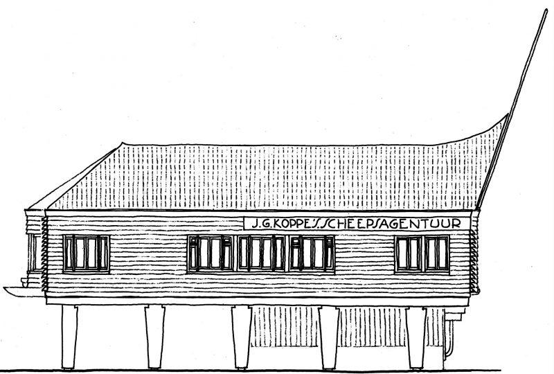 tekening gevel pand Naco-huisje