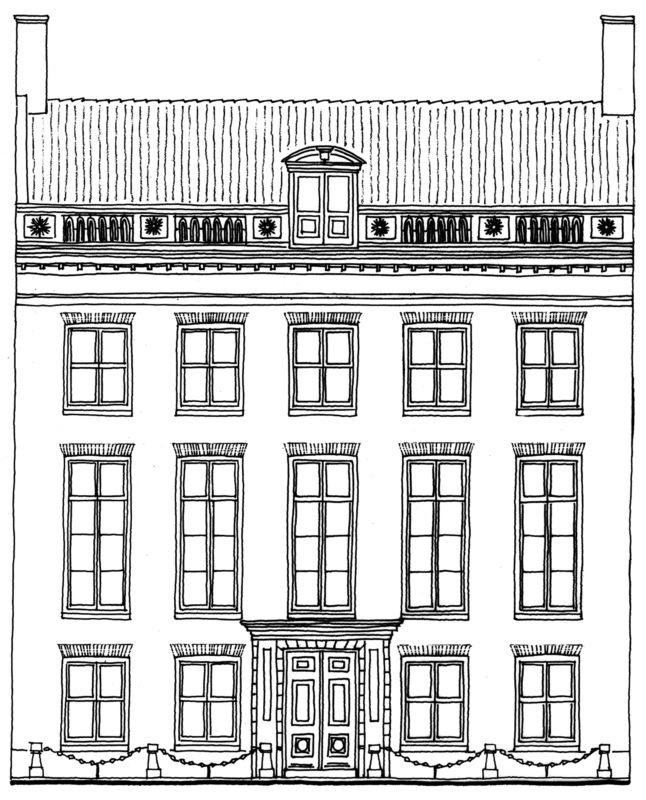 Tekening gevel pand Nieuwe Herengracht 49