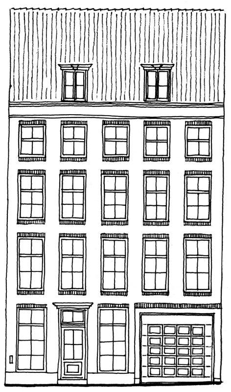 Tekening gevel pand Nieuwe herengracht 53