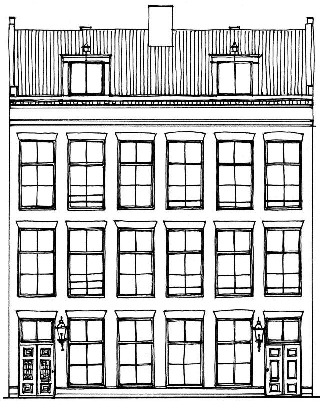 Tekening gevels panden Nieuwe Prinsengracht 51-53