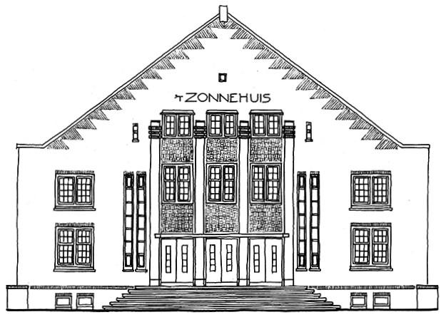 Tekening gevel pand Zonneplein Zonnehuis