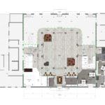Plattegrond van de begane grond, expositieruimte, keuken, lunch- en overlegplekken en werkplekken, rechts vergaderhuisje bij de ingang.