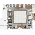 Plattegrond van de 1e verdieping, receptie, werkplekken, vergaderruimten, concentratiewerkplekken, pantry, rechts het vergaderhuisje.
