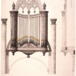 Tekening van het orgel uit het Amstelarchief.