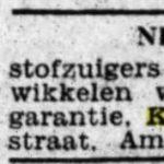 Verkoop stofzuigers in de winkel. Het Volk, 12-03-1932.