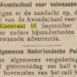Koestraat 15, De Courant d.d. 03-09-1902.