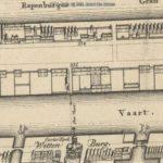 Detail van de kaart van Gerrit de Broen uit 1744. Ons pand staat bij nummer 335 aangegeven. Twee huizen onder één dak.