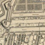 Kaart van Gerrit de Broen uit 1744, met links bij C onze Molen De Gooyer en bij de Overhaal over de Nieuwe Vaart aan de Overhaalsgang ons pand.